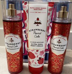 NEW BATH & BODY WORKS FRAGRANCE STRAWBERRY 🍓 POUND CAKE 🍰 ULTRA SHEA BODY LOTION CREAM BODY SPRAY for Sale in Tacoma,  WA
