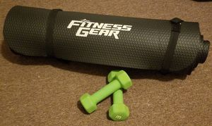 Fitness Set: Mat and Pair of 3 lb Dumbbells for Sale in Los Angeles, CA