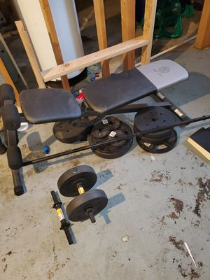 Weights and bench. BRAND NEW for Sale in East Alton, IL