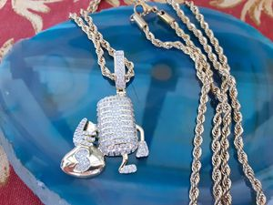 """14k Gold Iced Out Microphone Money Bag Pendant Genuine Diamond Simulate Stones With 30"""" Rope Chain (We Ship📦📬‼) for Sale in Chandler, AZ"""