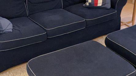 IKEA Ektorp Sofa with Two Ottomans, Blue for Sale in Philadelphia,  PA