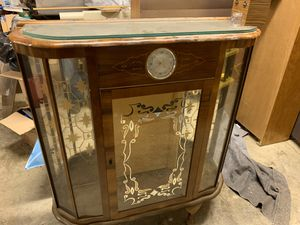 Vintage walnut display cabinet with Smith's clock. Antique for Sale in Gig Harbor, WA