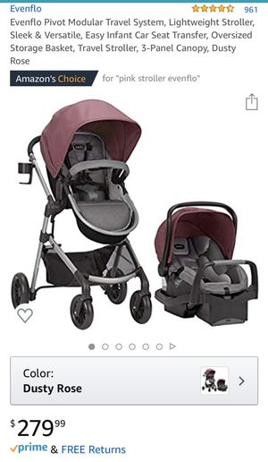 Evenflo stroller & car seat pink (dusty rose) for Sale in Modesto, CA