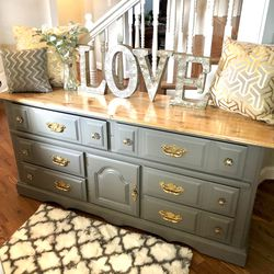 Grey gold sideboard dresser set buffet End table Nightstand refinished hardwood for Sale in Vancouver,  WA