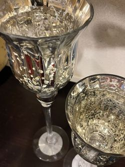 Beautiful Glass Metallic Tall Goblet Style Candle Holders for Sale in Vancouver,  WA