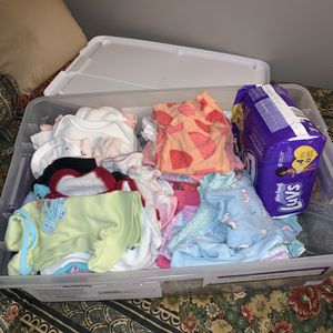 Baby Clothes And Diapers With Car Seat Cover for Sale in Columbus, OH