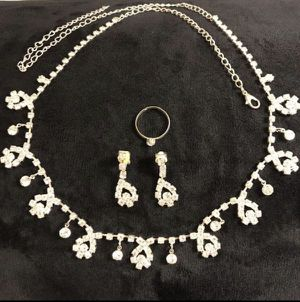 925 Silver plated Earrings - Ring- Necklace Set for Sale in Dallas, TX