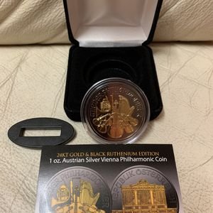 2018 1oz Austrian Vienna Phiharmonic Black Ruthenium Silver Coin for Sale in Tukwila, WA