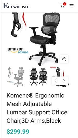 Komene® Ergonomic Mesh Adjustable Lumbar Support Office Chair,3D Arms,Black for Sale in San Gabriel, CA