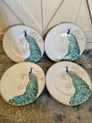 222 Fifth Peacock Garden 4 Salad Plates for Sale in Wichita, KS