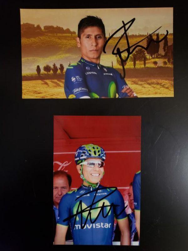 Nairo Quintana Two Signed Autographs Photos