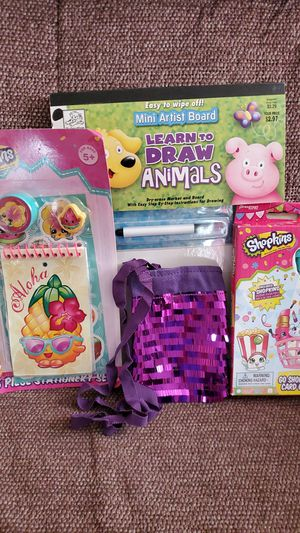 Shopkins Card game, stationary set, wipe board & purple sparkling purse. for Sale in Virginia Beach, VA
