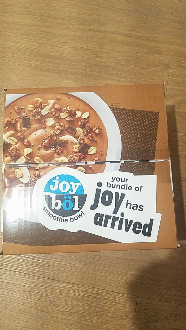 Joy Bol smoothie bowls. (10 boxes) Each box contains 4 bowls. (7 ) chocolate and 3 strawberry. $5 dollars each box.