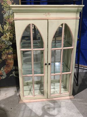 Hand Painted Wood Wall Unit Shelf with Doors & Interior Mirror for Sale in West Palm Beach, FL