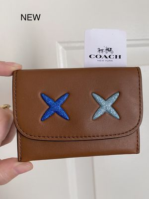 Authentic COACH Small Brown Leather Glitter Card Case/Mini Wallet, Brand New with Tags, MSRP $75 for Sale in Surprise, AZ
