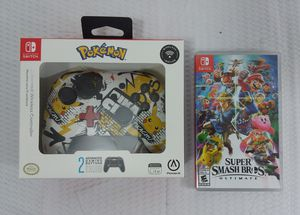 Nintendo Switch Wireless Pokemon Controller + Super Smash Bros Ultimate Game for Sale in Largo, FL