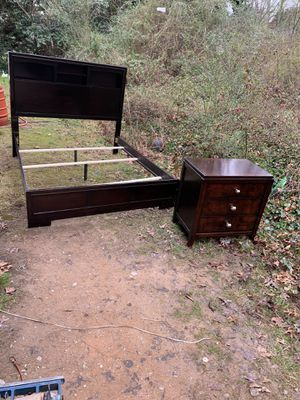 Queen size bed frame and night stand for Sale in Winston-Salem, NC