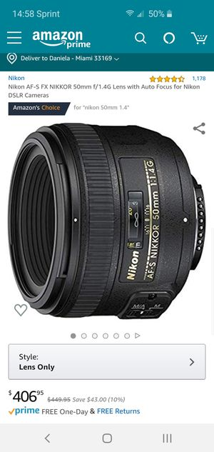 Nikkor 50mm 1.4 Like New Barely Used for Nikon for Sale in Miami Gardens, FL