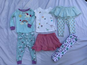 6 piece princess unicorn 🦄 baby girls lot pajamas rainbow 🌈 skirt shirts for Sale in Painesville, OH