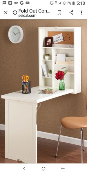 Fold out convertible desk. Winter white for Sale in Lynnwood, WA