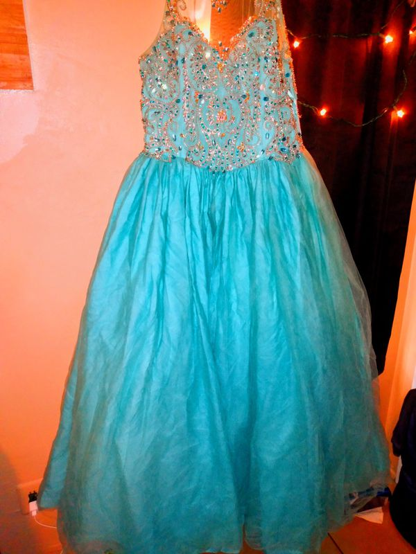 Teal blue quinceanera dress