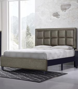 Brand New Queen Size Gold & Black Leather Platform Bed Frame ONLY for Sale in Silver Spring, MD