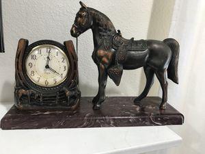 Antique Metal Horse INGRAHAM ACE clock (Plastic base) for Sale in Castro Valley, CA