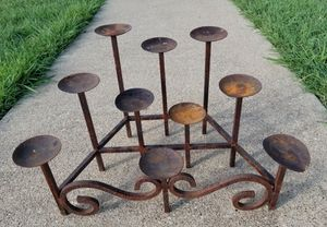 Cast Iron 10 Pillar Candle Holder Fireplace Candelabra for Sale in Murphy, TX