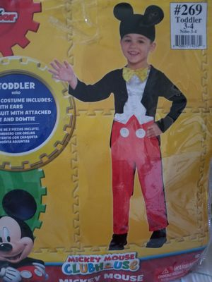 Mickey Costume Toddler 3-4. With Ears Hat. for Sale in Las Vegas, NV