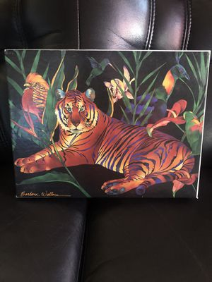 Tropical Tiger Jigsaw Puzzle Barbara Wallace 550+ Pieces 1989 Vtg for Sale in Hayward, CA