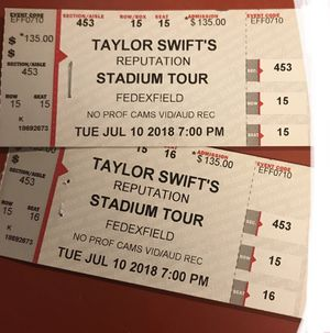 2 TAYLOR SWIFT TIX for Sale in Silver Spring, MD