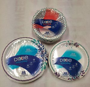 Dixie plates and bowls each pack for $3 for Sale in Torrance, CA