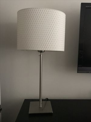 Pretty silver lamp with white shade. Nice on a dresser or desk or in any room of your home. for Sale in Pembroke Pines, FL