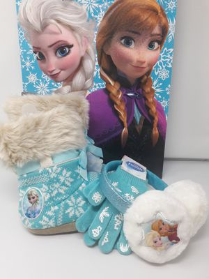Frozen Booties Faux Fur Trim - Girls Size 13-1 with Ear Muffs & Glove Set and Large Gift Bag for Sale for sale  Atlanta, GA