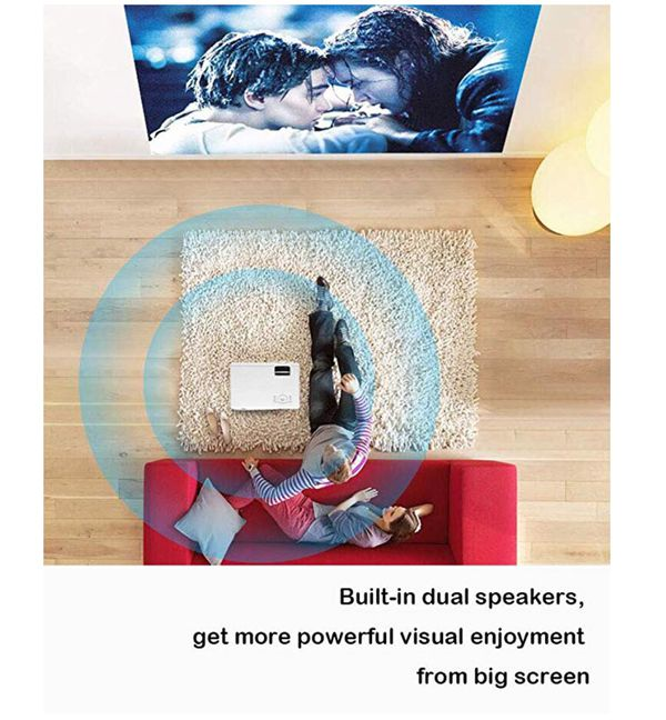 """Mini Video Projector,XINDA 2900 Lux Projector with 187"""" Display 50,000 Hours LED Full HD Projector 1080P,Compatible with Fire TV Stick,HDMI,VGA,USB,A"""