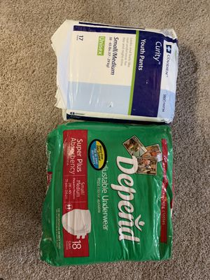 Adult/ youth disposable diapers/ underwear (size small/ medium) 8$ for both for Sale in Kent, WA