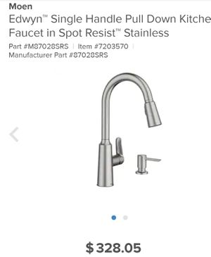 New MoenEdwyn Spot Resist Stainless 1-Handle Deck Mount Pull-Down Handle/Lever Commercial/Residential Kitchen Faucet (Deck Plate Included) for Sale in Rialto, CA