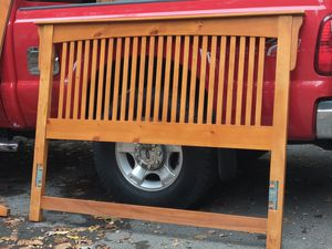 Beautiful solid Oak Queen bed frame Like new for Sale in Albany, NY