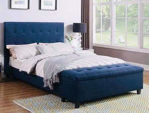 (Brand New In Boxes) Queen Size Blue Tuft Fabric Bed Frame And Ottoman for Sale in Atlanta, GA