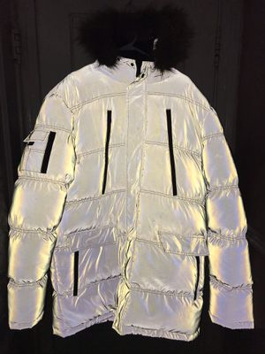 Good for Nothing silver reflective 3M parka jacket fur hood Sherpa for Sale in Naugatuck, CT
