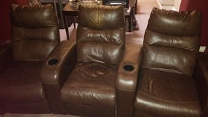 Home Theatre Seating 3 Leather Recliners for Sale in Las Vegas, NV