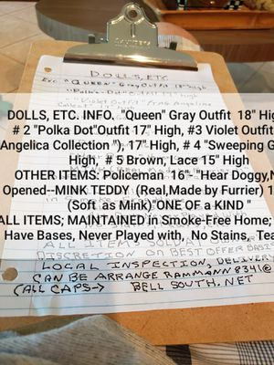 """Dolls on bases """"dressed to the t,"""" never played with, like new, kept in smoke-free home. for Sale in Boynton Beach, FL"""
