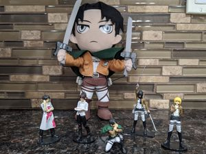 Attack on titan figures + free levi plushie for Sale in Elk Grove, CA