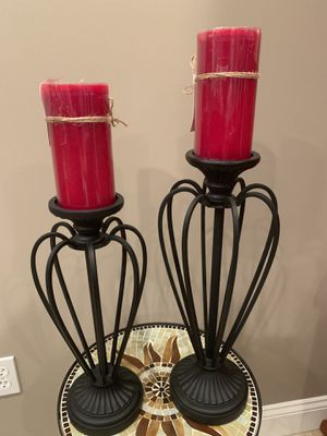 2 Metal Candleholders with Harvest Cider Candles for Sale in Columbia, MO