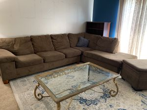 Couch, Ottoman, Queen Bed, Coffee Table, End Table, & Wall Shelves for Sale in HILLTOP MALL, CA