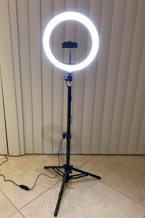 New in box 10 inches Ring LED Light Warm and Cold 3000 to 6500K USB with Adjustable Tripod 59 inches tall and Controller Video Maker Phone Camera Hol for Sale in San Dimas, CA