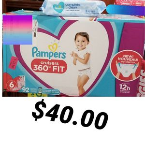 Pampers Cruisers 360 Fit Size 6 And Wipes for Sale in Los Angeles, CA