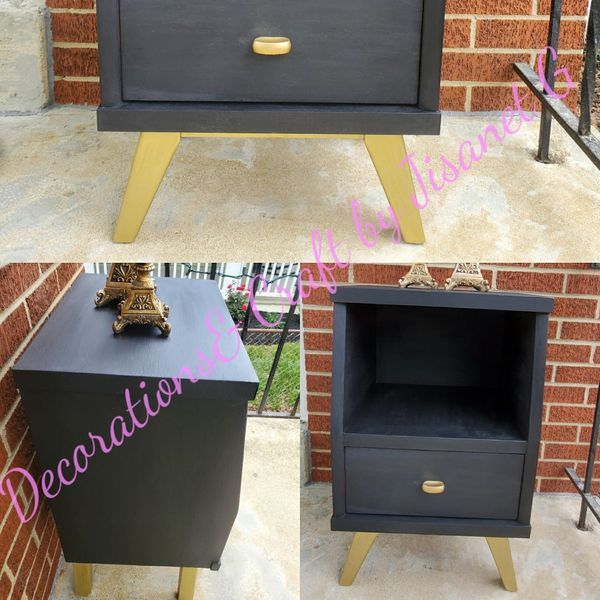Solid Black and Gold Nightstand