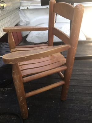 Nice kids wood rocking chair and wood chair good condition $15 a chair or both for $25 for Sale in Fuquay Varina, NC