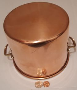 """Vintage Metal Copper and Brass Cooking Pot, Pan, 7 1/2"""" x 6"""" Pan Size, Heavy Duty, Kitchen Decor, Hanging Decor, Shelf Display for Sale in Lakeside,  CA"""